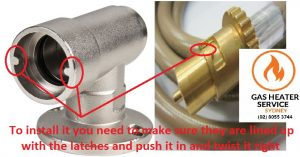 how to install gas hose into gas bayonet point